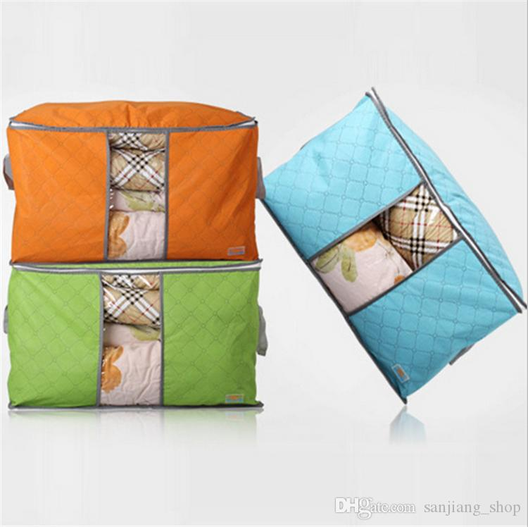 Bamboo Charcoal Storage Bags Big Non Woven Portable Foldable Clothing Blanket Pillow Underbed Bedding Organizer Box