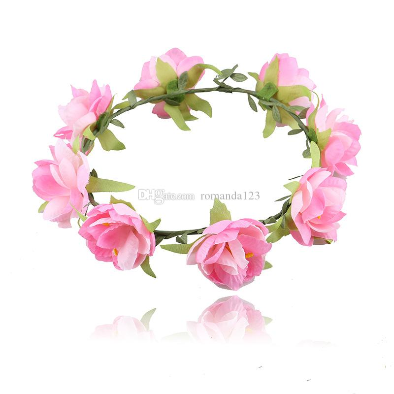 DHL Bohemian Style seaside garland Bride and bridesmaids garland Wedding Hair Jewelry Rose Flower hair band Travel accessories