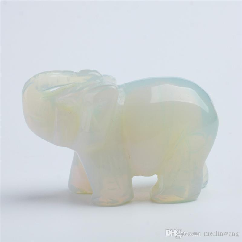 Spedizione gratuita 3 pollici cristallo di quarzo opale elefante figurine scultura in pietra longevità chakra guarigione pietre di reiki intagliato mestiere di cristallo elefante