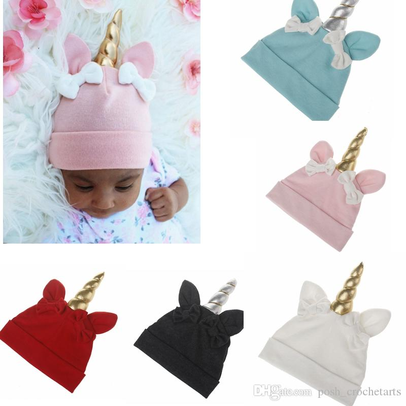 Compre Cute Unicorn Baby Hat Bebés Recién Nacidos Unicorn Caps ...