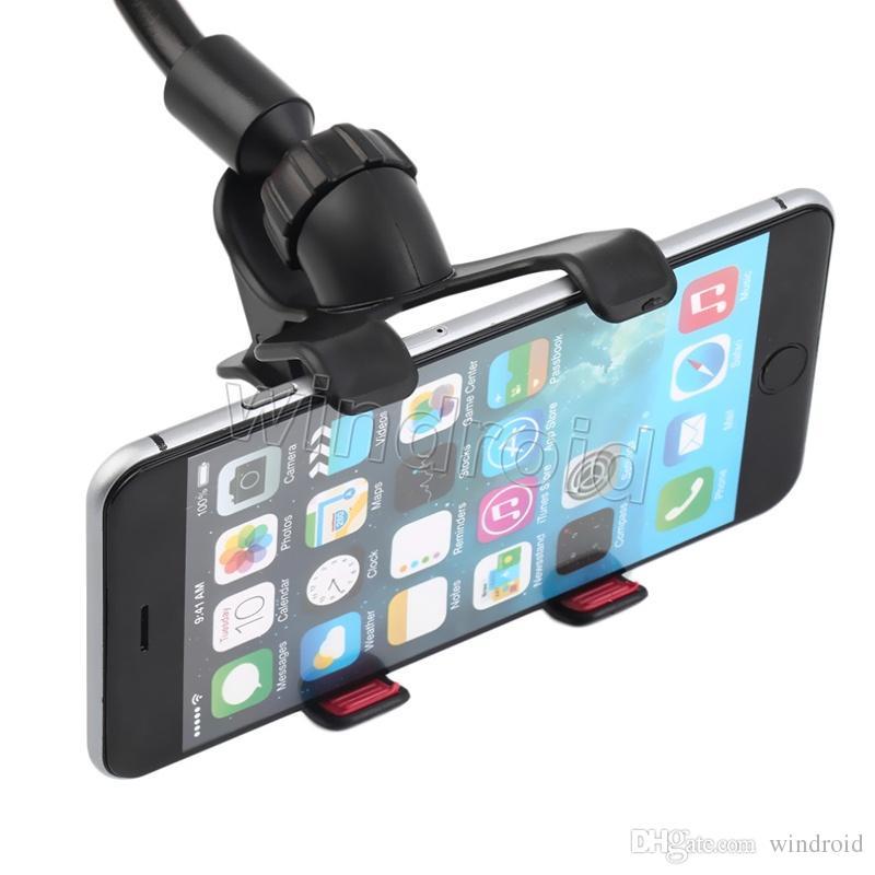360 Graus Longo Braço preguiçoso Universal Car suaves tubo de Sucção Suporte de Montagem Titular Duplo V Clip para iPhone 7 i7 note5 telefones celulares + caixa de varejo