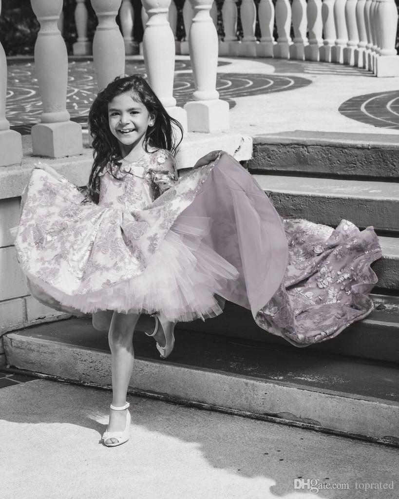 Abiti da bambina a fiori a maniche lunghe a fiori rosa 2019 Abiti da sposa bambini Abiti da cerimonia matrimoni Vestito da spettacolo bambina adorabile