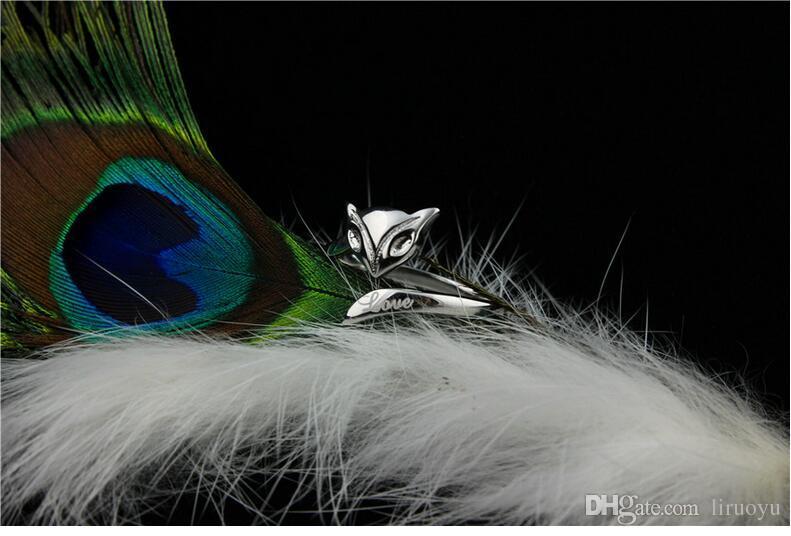 Nouveau! 925 Sterling Silver Ring bijoux forme de renard du feu Designer de mode anneaux pour femmes parti cadeau Fine cute bijoux personnalité conception bague