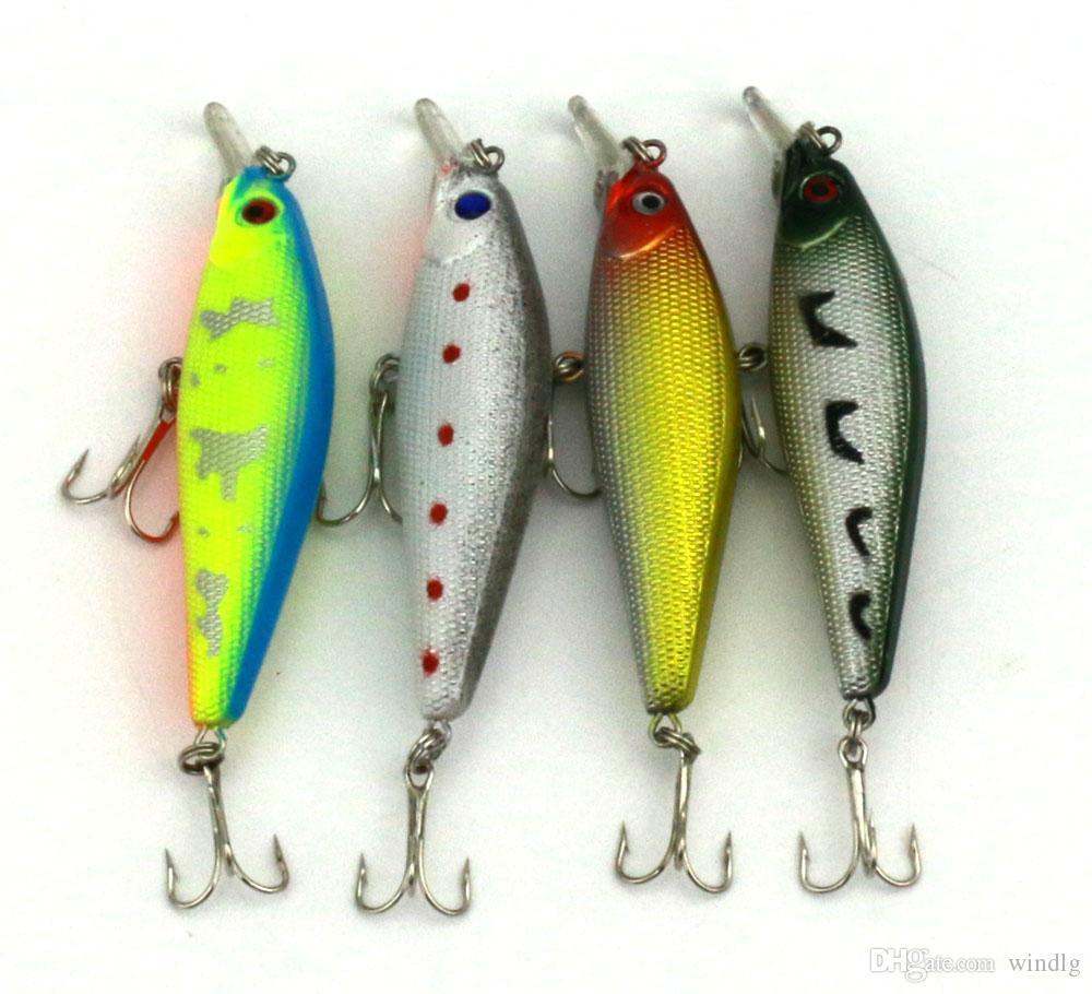 HENGJIA Balıkçılık lures Minnow 8.5cm 10.3g 6 # kanca Sabit Bait dalış derinliği iki kanca pesca sazan olta takımı 4 renk