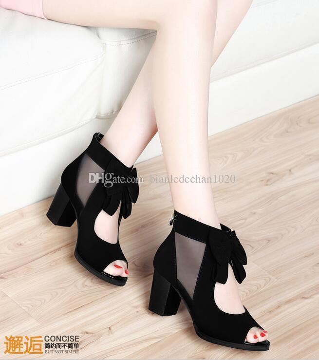 Yay moda seksi kadın sandalet kadın balık kafası kalın sonra yüksek topuklu yay ile kadın fermuar nefes örgü ayakkabı