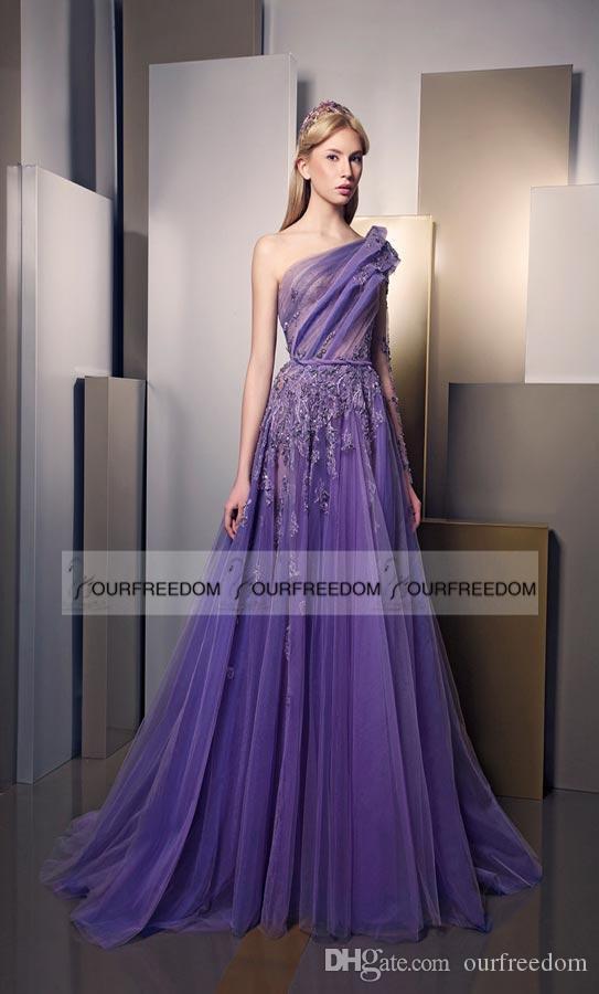 Klassische 2019 Prom Kleider Ein Shouler Geraffte Spitze Applique Perlen Abendkleid Luxus Lila Lange Vintage Formale Party Kleider Nach Maß