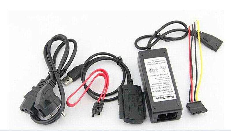 New EU Standard Hard Drive Power Supply Adapter USB 2.0 to SATA/IDE Cable be used to connect Hard disks/CD-ROM