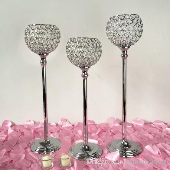 10 pçs / lote alto ouro prata cor de cristal frisada bola castiçal candelabro candeeiros de mesa de mesa de decoração de casamento