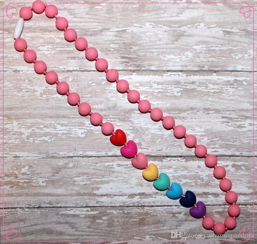 2016 New FDA Silicone Teething Pendant Nursing Chewelry Necklaces Kids Chew Beads Chewable Teething Necklace Nursing Necklace