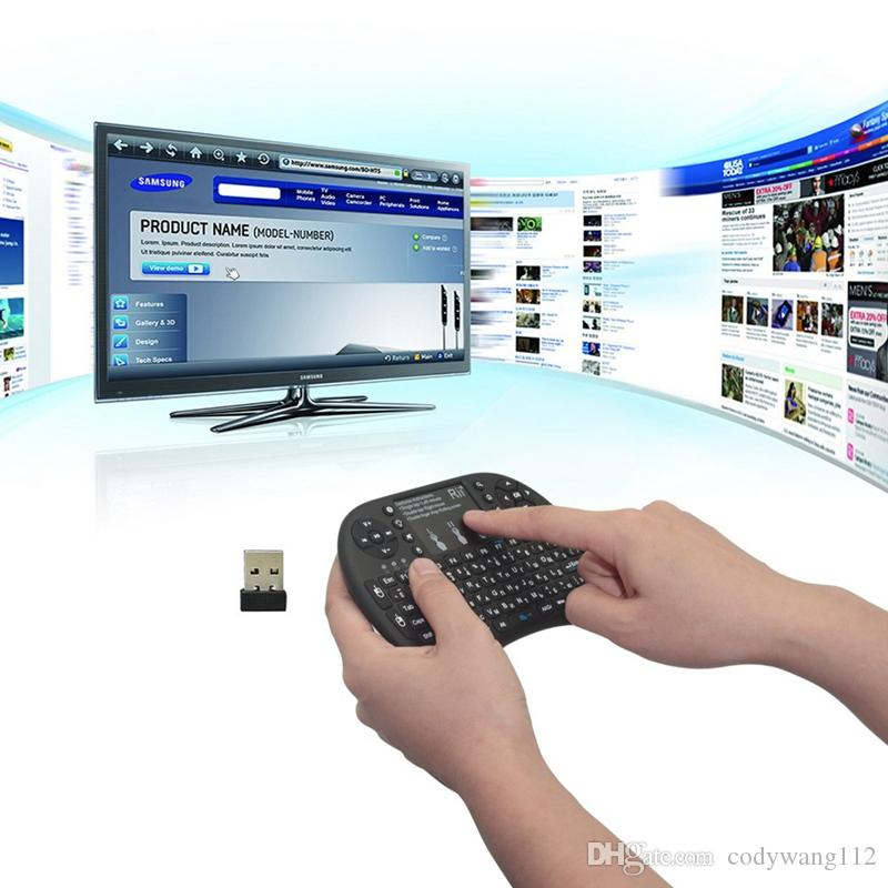 Hot Black 2.4G mini i8 + teclado inalámbrico Touch Pad mouse Teclado para juegos retroiluminado para HTPC Tablet PC portátil Teclado