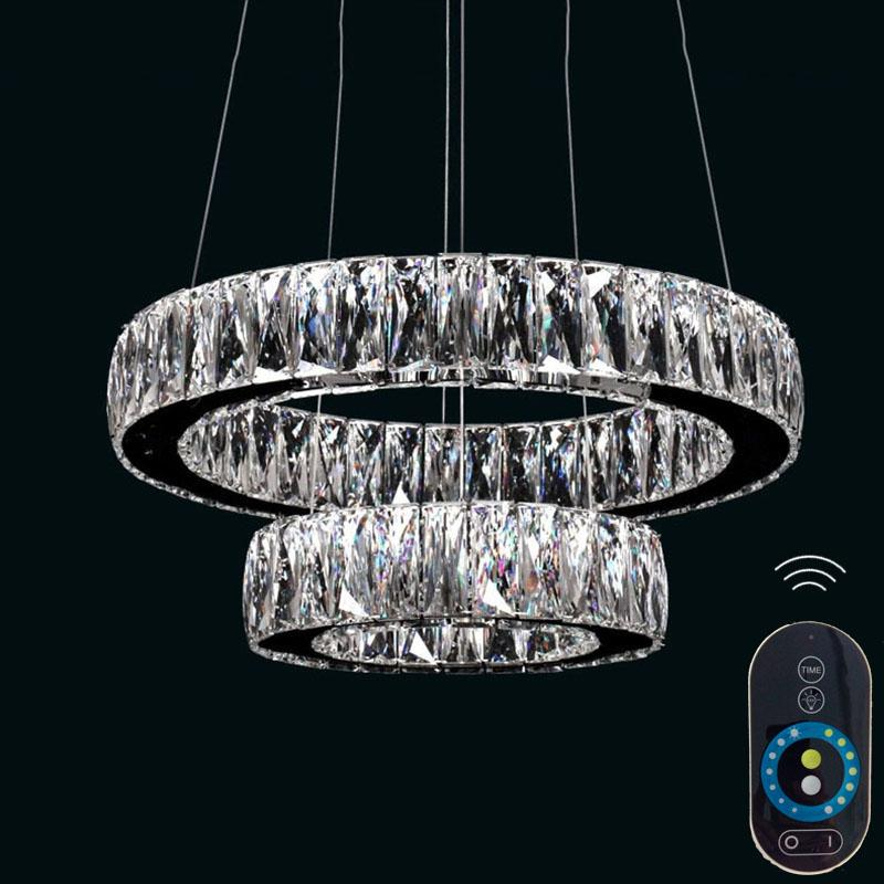 Dimmable Led Crystal Chandeliers Glass Pendant Lamp Round Ring Droplight Lighting With Remote Control Ac110 To 240v Vallkin Outdoor Chandelier