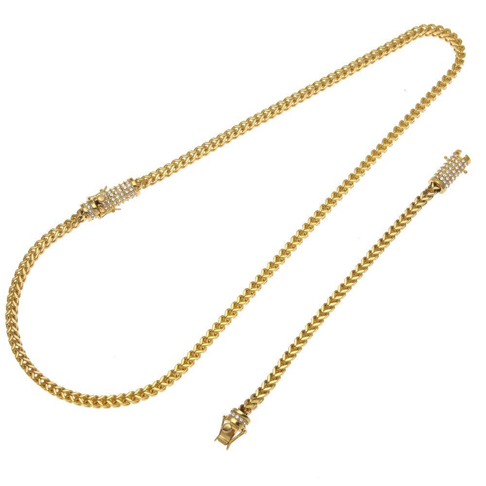 Mens Stainless Steel Franco Cuban Box Chain Necklace Bracelet Set Rhinestone Hip Hop Exquisite casting buckle Necklaces Jewelry Sets
