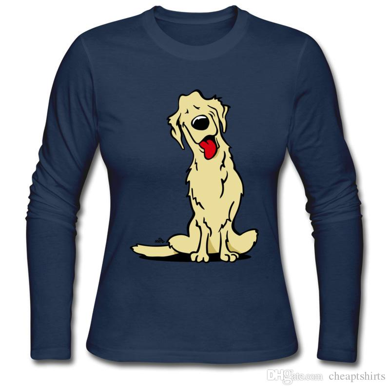 Pet print woman's tee shirt fall and winter suited new listing long sleeve fashion tailoring T-Shirt for girls Cartoon golden retriever dog