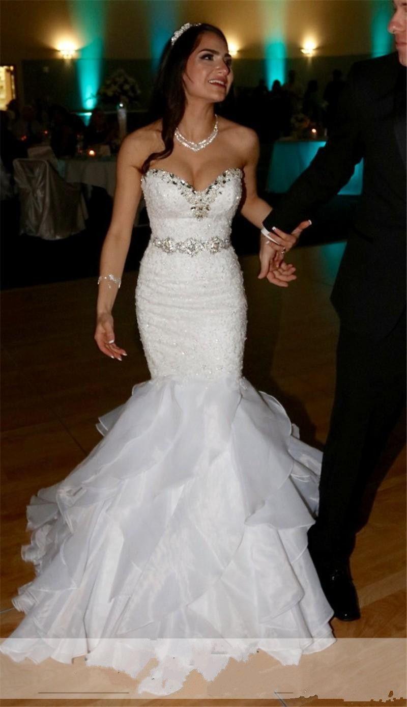 Vintage 2017 Sereia Vestidos de Casamento Cristais Beading Chiffon Sash Sexy Querida Lace-up Voltar Ruffles Vestidos de Noiva