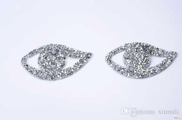 eye design crystal hotfix motifs iron on transfer rhinestone patches strass crystal stones applique for clothing craft