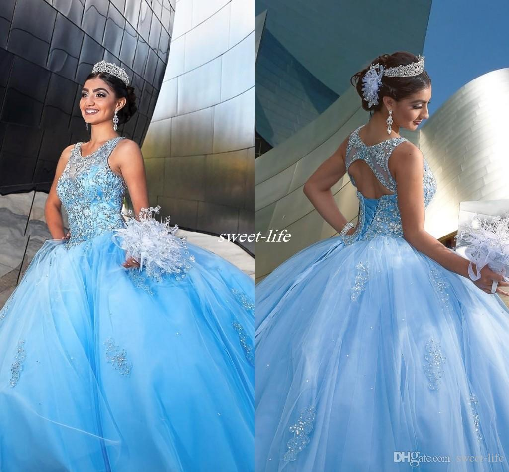 Light Sky Blue Sweet 15 16 Party Debutantes Gowns Backless