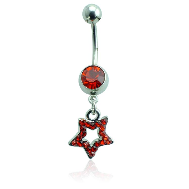 Bijoux de corps Fashion Belly Button Rings Acier chirurgical Barbell Dangle Strass Star Anneaux Navel
