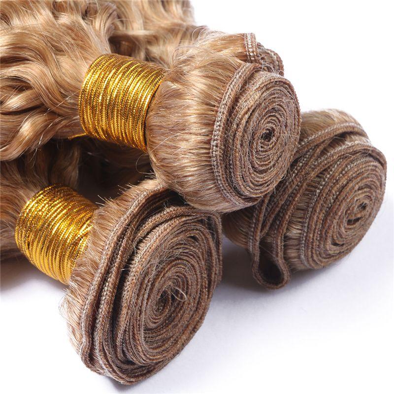8A Grade #27 Honey Blonde Malaysian Hair 3 Bundles Deep Curly Human Hair Weaves Honey Blonde Curly Malaysian Hair Wefts