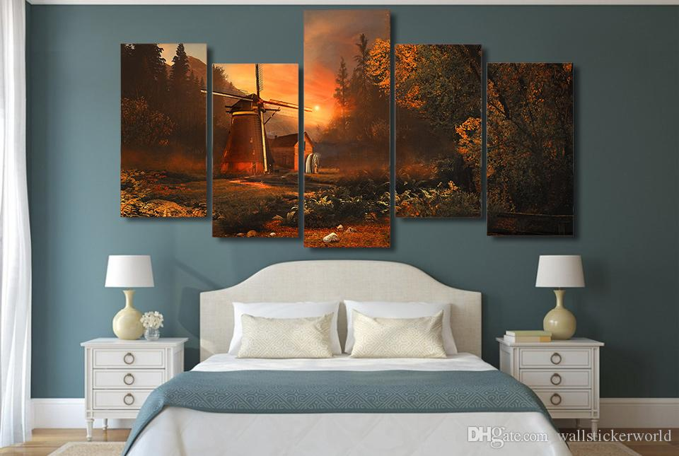 Framed Printed sunrise forest miller's house Painting on canvas room decoration print poster picture canvas /ny-4406