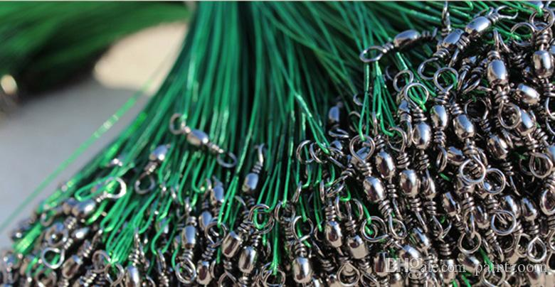 Wholesale Stainless Steel Coated Fishing Trace Lure Wire Spinner Leader Hooks Swivel Interlock Snaps /pack
