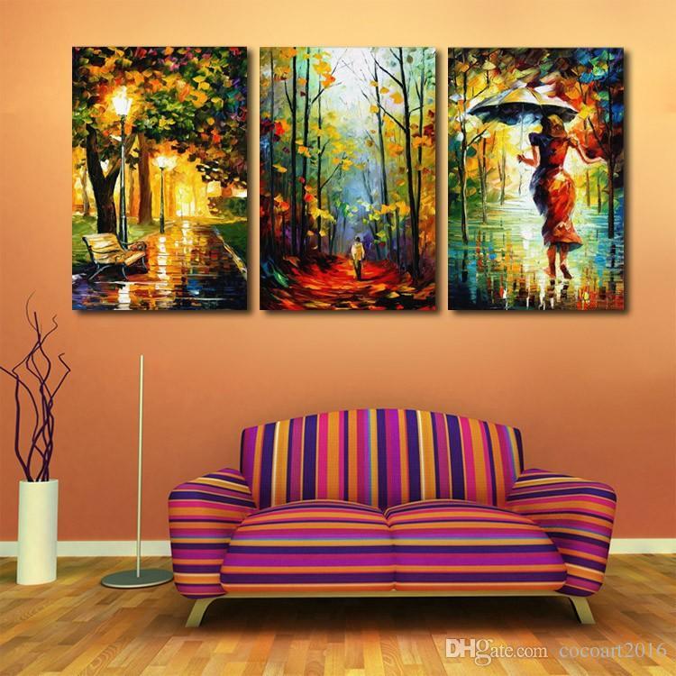 Modernes Dekor Leinwand Malerei Abstraktes Ölgemälde 3 Stück Straßenlaterne Baum Wandbilder Für Wohnzimmer Kunst Figur Spaziergang Regen