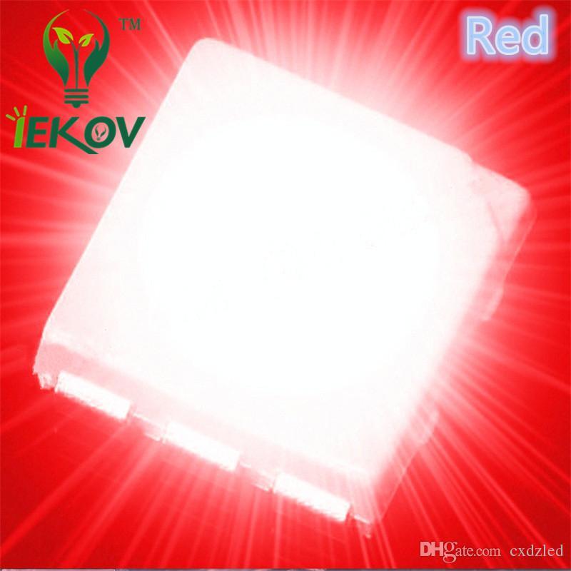 Alta calidad 5000 unids PLCC-6 5050 SMD LED rojo Super brillante diodo de luz 620-630nm para bicicleta DIY SMD / SMT Chip lámpara de cuentas