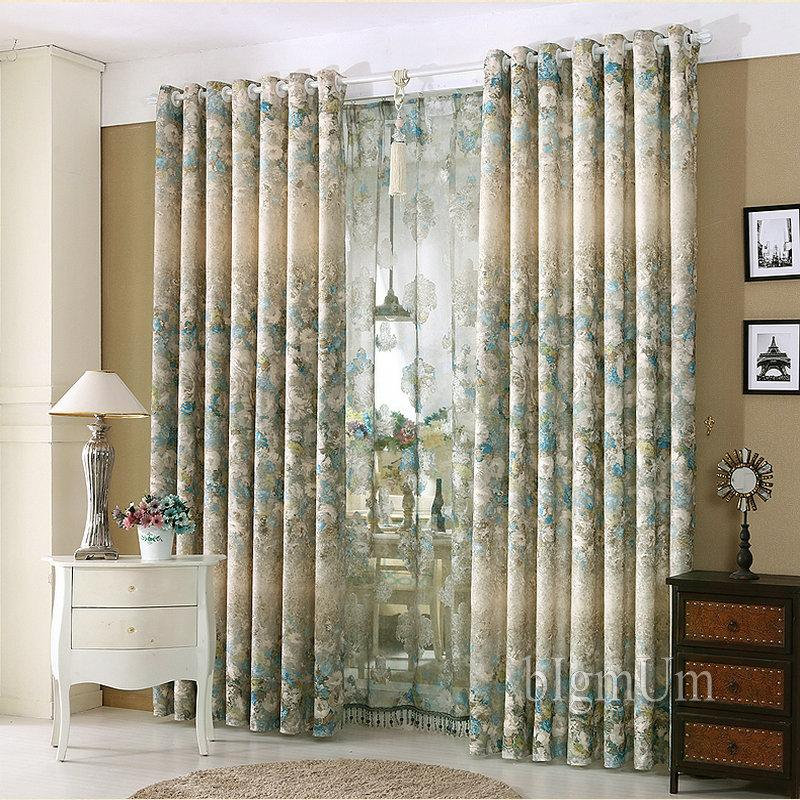 Luxury Window Curtains For Living Room Bedroom Hotel Printed Jacquard Flowers Drapes Blackout Treament