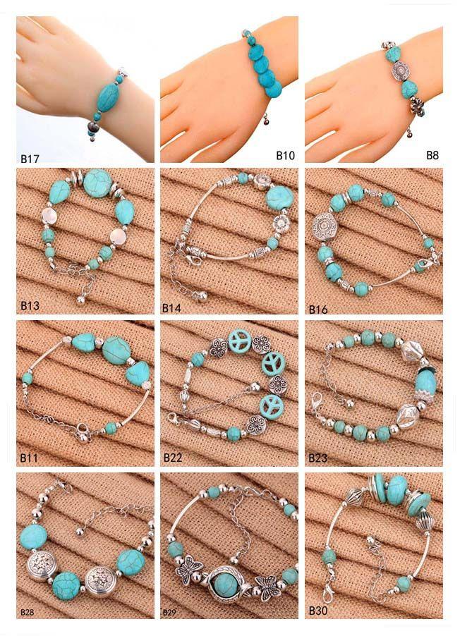 Hohl Runde europäische Perlen Charm Armbänder 12 Stück Mixed Stil Frauen DIY Tibetan Silber Türkis Armband GTTQB3