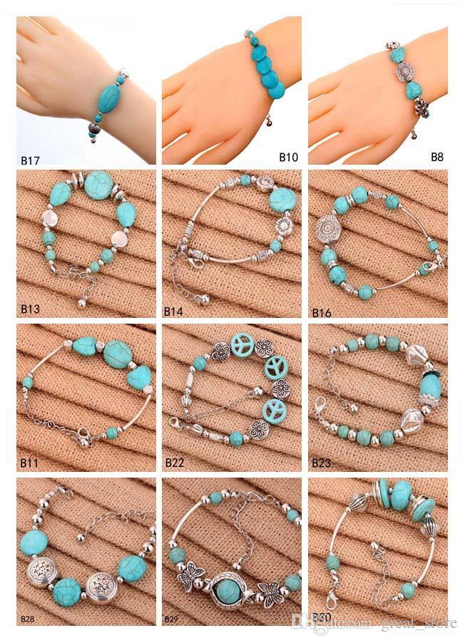 Hollow round European Beads Charm Bracelets a mixed style women's DIY Tibetan silver turquoise bracelet GTTQB3