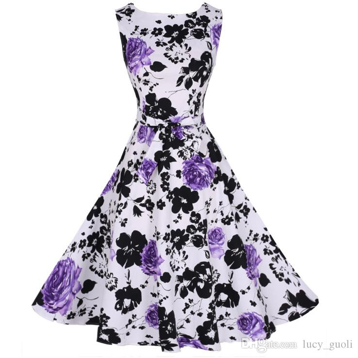 New Women Summer Floral Print Retro Vintage 50s 60s Casual Party Rockabilly Pinup Dresses Ladies Swing Elegant Dresses Party Clubwear dress