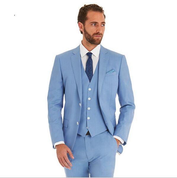 2016 Slim Fit New Fashion Brand Wedding Party Sky Blue Tuxedo ...