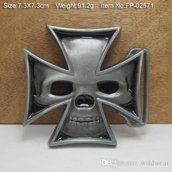BuckleHome fashion cross belt buckle skull belt buckle with pewter finish plating FP-02571