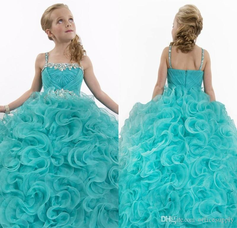 2018 New Sparkly Aqua Blue Flower Girl Dresses Long Pageant ...