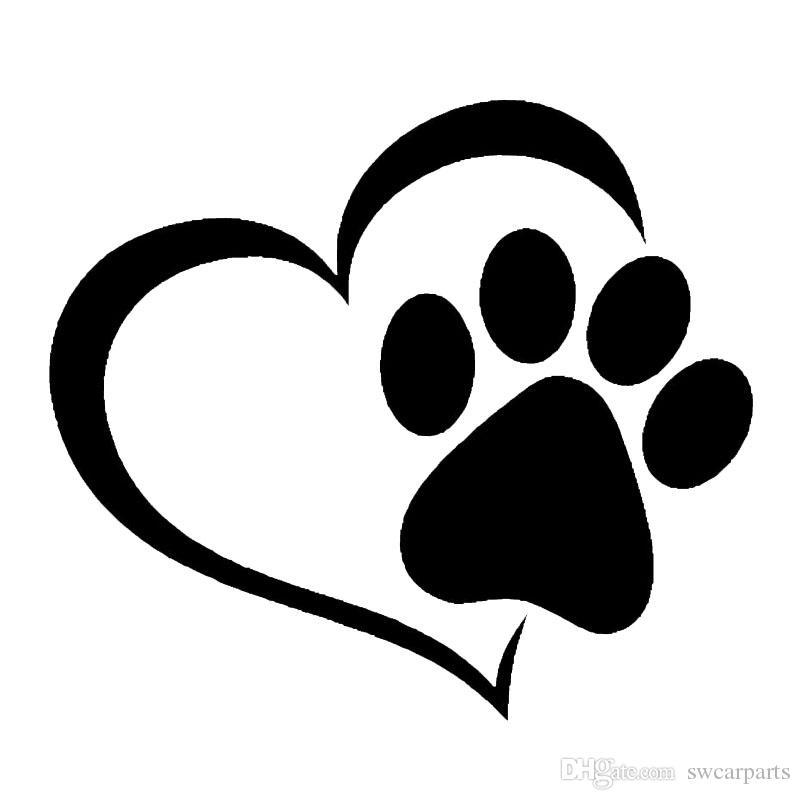 Love The Dog Paw Print Fenster Dekoration Aufkleber Kreative Motorrad Auto Aufkleber Schwarz / Weiß