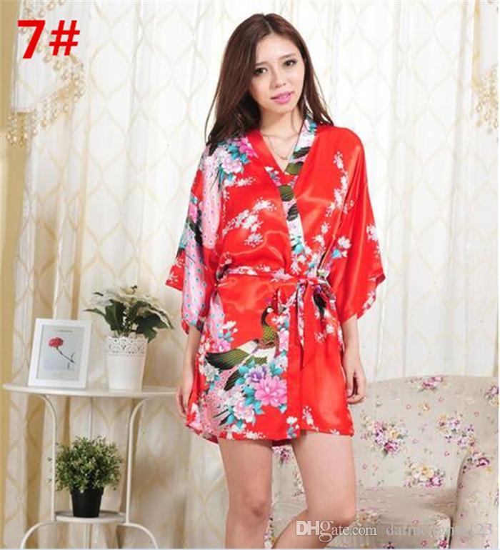 es S-XXL Mujeres Sexy Seda japonesa Kimono Bata Pijamas Camisón Ropa de dormir Flor rota Kimono Ropa interior D713