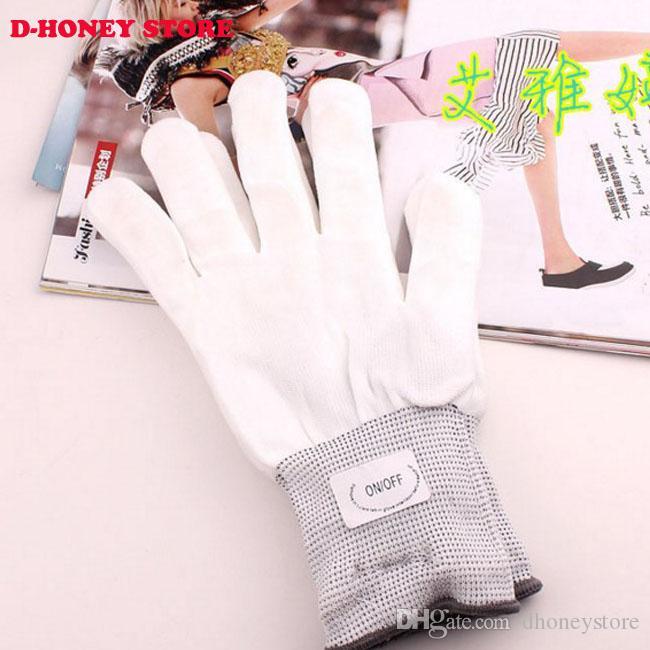 LED Glow Gloves Lumière Rave Clignotant Doigt D'éclairage Mitaines Magic Black gants Fête Fournitures Décoration Halloween
