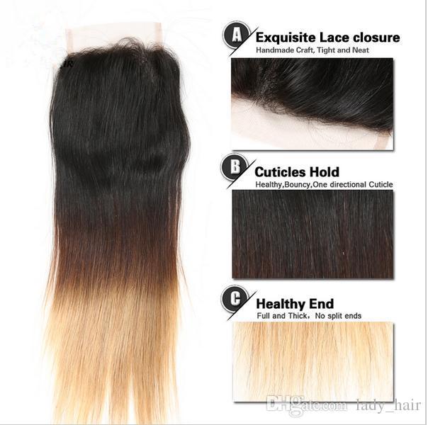 # 1B / 4/27 Honey Blonde Ombre pelo brasileño 3 paquetes con cierre de encaje Dark Roots Tres tonos pelo recto y sedoso Ombre teje con cierre