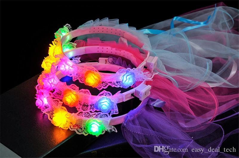 New Sweet Kids Girls Princess LED Flashing Crown Lace Flower Headband Hairband Veil Birthday Glow Party Supplies Q0094