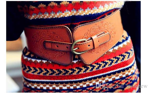 Wholesale-0075 Women Ladies Vintage Super Wide Faux Leather Gold Metal Buckle Totem Print Elastic Stretch Corset Cinch Belt