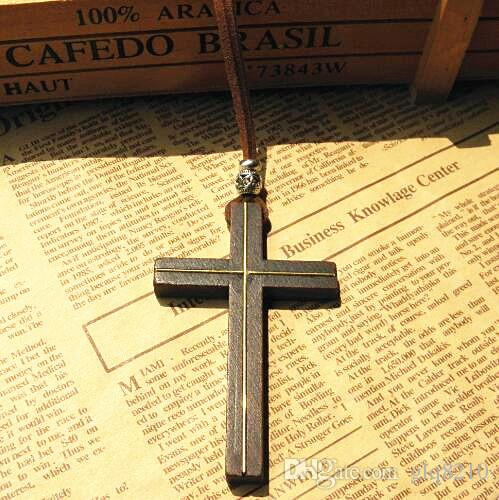 Cruz de madeira maciça pingente de colar de couro do vintage cabo camisola cadeia Incrustada de cobre homens mulheres jóias artesanais à moda Jesus Vintage