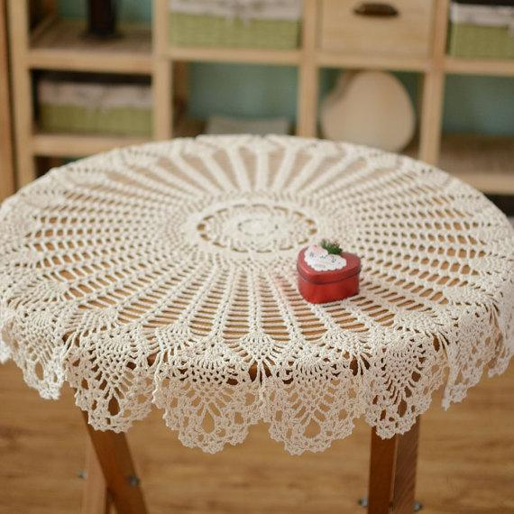 Hand Crochet Pattern Table Cover, Handmade Coffee Table Cover, Night Stand  Cover, Refrigerator Cover, Round Crochet For Home Decor Af014 90 Round  Tablecloth ...