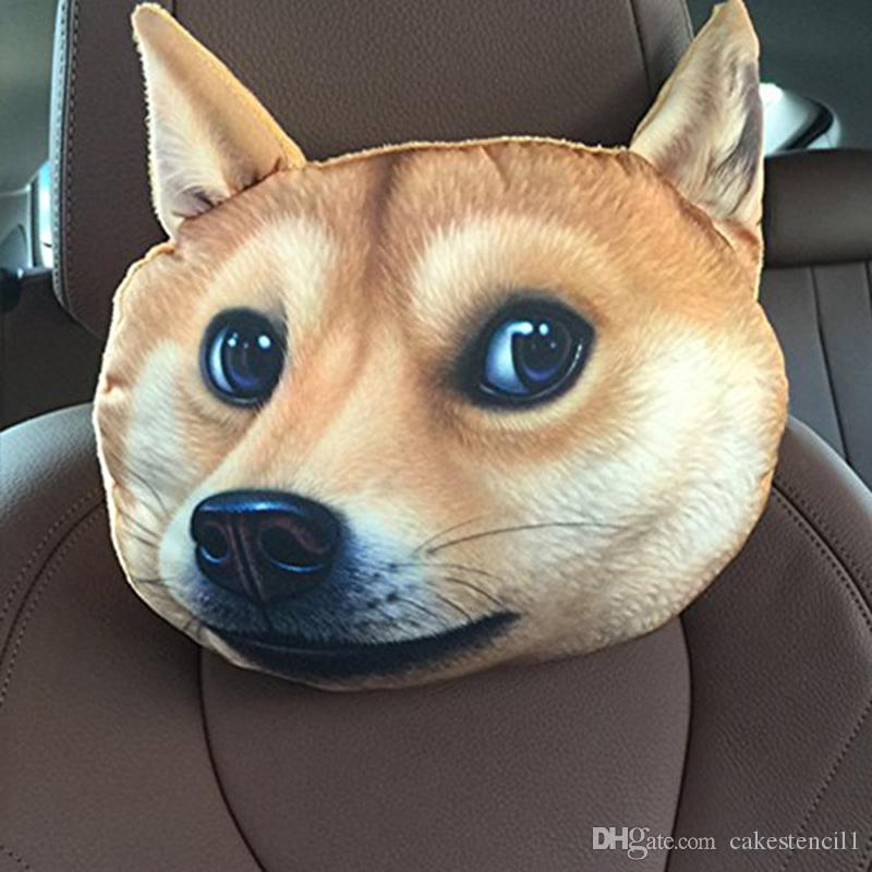 Creative 3D Printed Dog Face Car Headrest Pillow Arrival Activated Carbon  Seat Covers Supplies Neck Auto Safety Pillow Outdoor High Back Chair  Cushions ... ce45d3369c5d