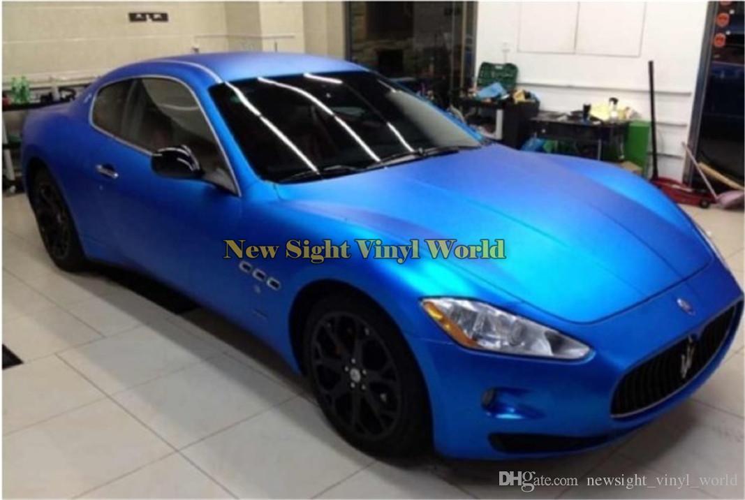 Top Quality Blue Matte Chrome Vinyl Wrap Film Air Free Bubble For Car Wrapping & Vehicle Wraps