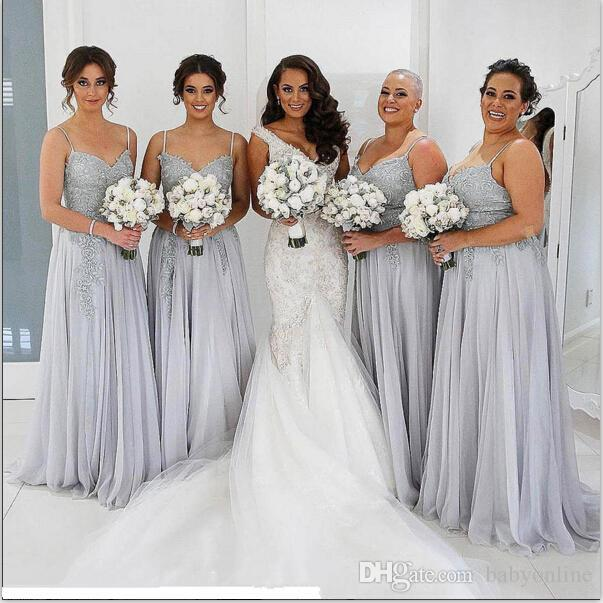2017 Grey Plus Size Spaghetti Neck Bridesmaid Dresses Side Split