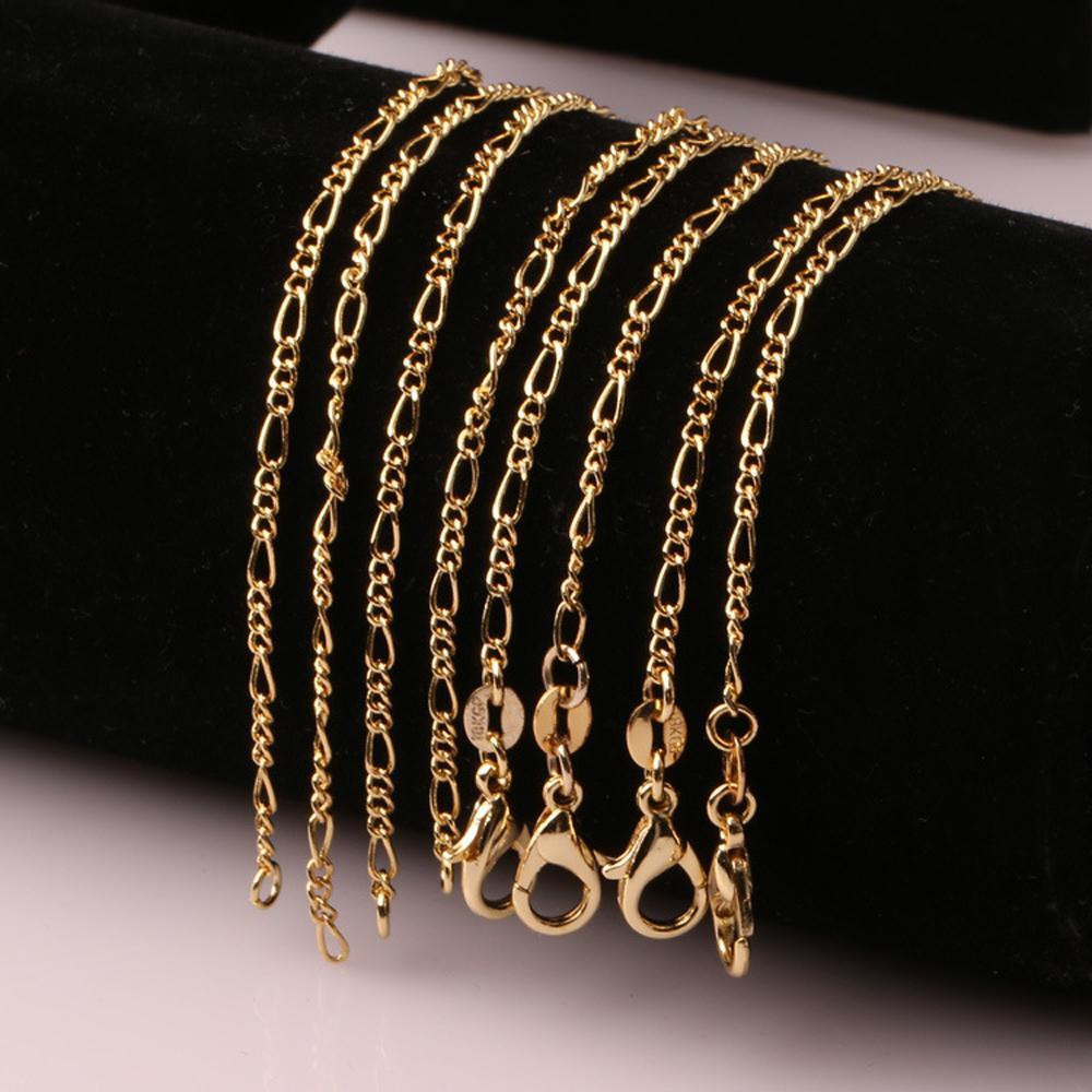 الأزياء 18K مطلية بالذهب والفضة الاسترليني 925 مطلي واسعة 2mm في الثقيلة فيجارو قلادة المرأة سلاسل للرجال