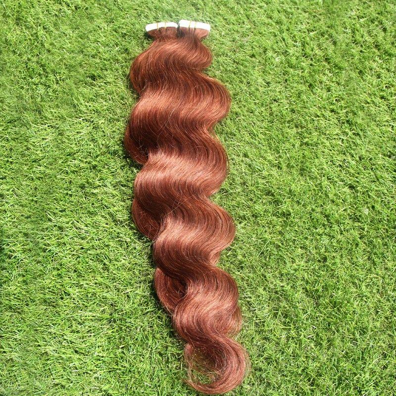 Virgin Mongolian Body Wave Hair 100G Human Hair Tape In Hair Extension Skin Weft PU Extension Remy 30 Auburn Brown