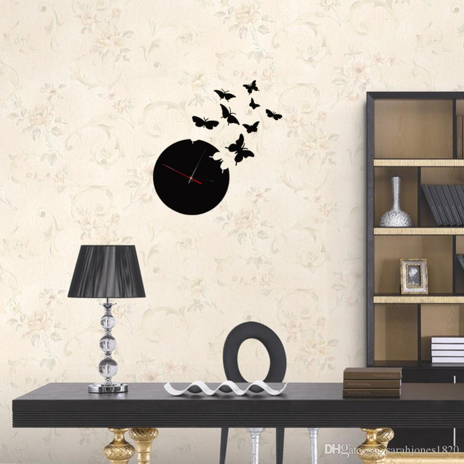 Butterfly wall black clock 3d wall mirror sticker clock watch butterfly wall black clock 3d wall mirror sticker clock watch mirror stickers home decor decals wall clock fashion design vinyl wall lettering vinyl wall amipublicfo Images