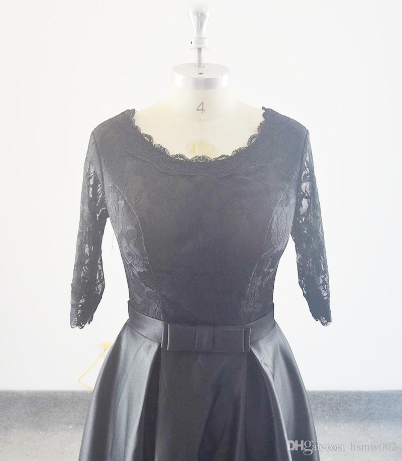 Real Simple Abendkleider neue Stile schwarze mittellange dünne elegante Kurzbankettkleid Sommer prom Partykleider