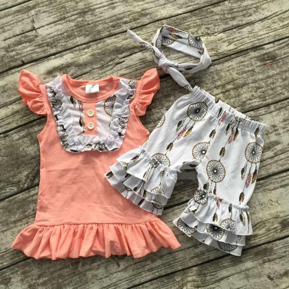 2016 Summer Baby Girls Outfits Baby Girls Dream Catcher Clothing Bib Top  Ruffle Shorts Sets Kids Boutique Clothes With Headband UK 2019 From  Arielchow dcc623c81f