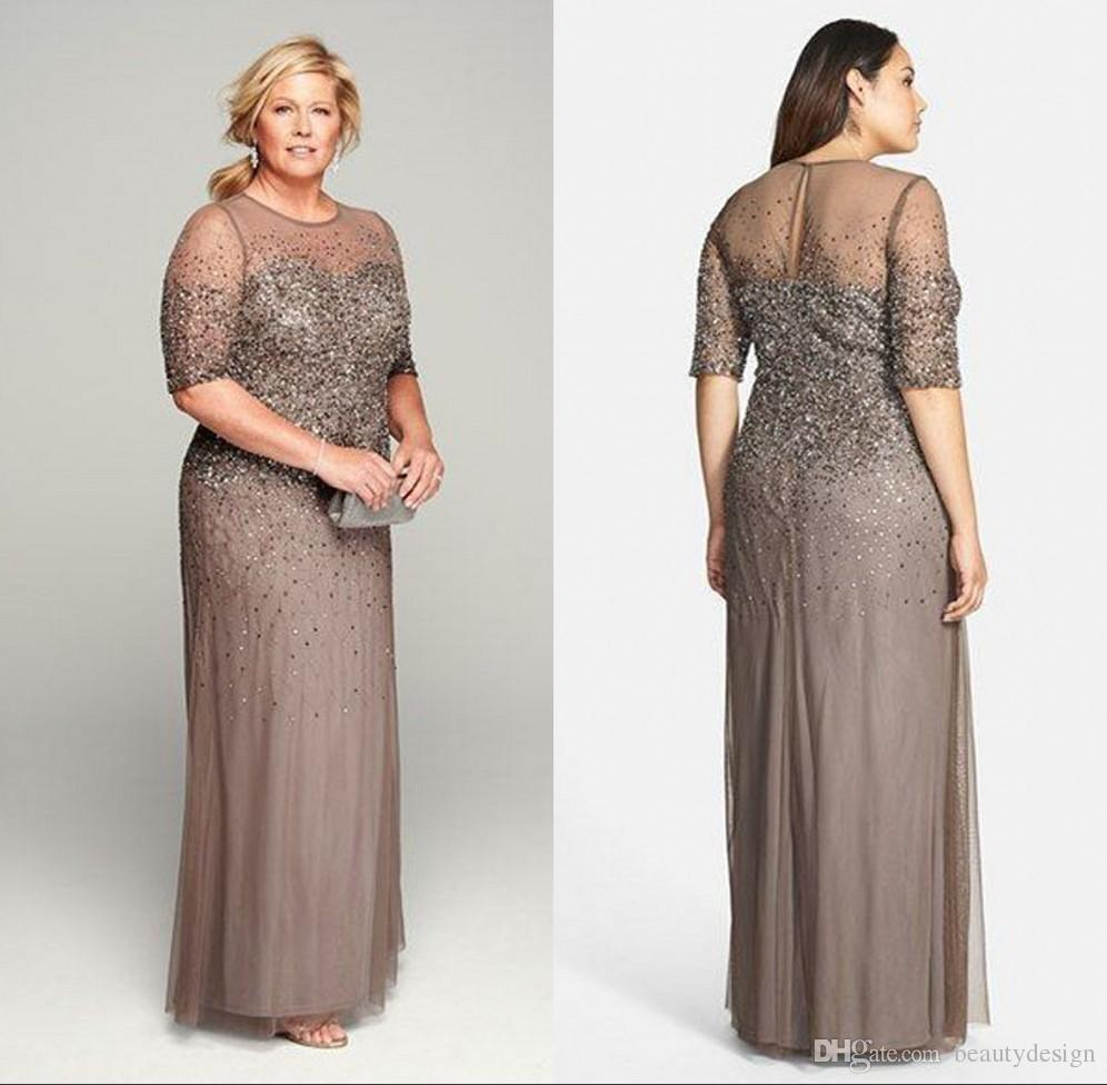 Sheer Mother of the Bride Groom Dresses with Short Sleeves Shiny Sequins  Full Length Mother Dress For Women Plus Size